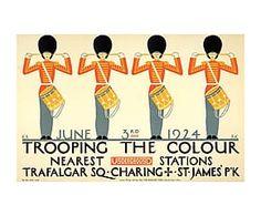 Affiche encadrée TROOPING bois, multicolore - 40*30