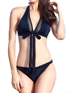 ade5b64fae Black Backless Halter Lace-Up Bikinis Set Bathing Suits For Women