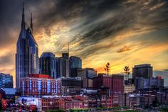 Painting of Nashville skyline