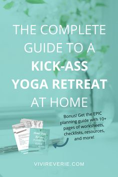 Are you feeling stressed out, exhausted, and in need of a break from your day to day life? Let's plan your perfect home yoga retreat together! In this post you'll find the complete guide to a KICK-ASS home yoga retreat. Want to know how to plan a yoga retreat at home? Read this post to get the best tips for a home yoga retreat. Don't forget to download the EPIC home yoga retreat planning guide full of worksheets, checklists, resources and more! Home yoga retreat ideas, yoga retreat at home…