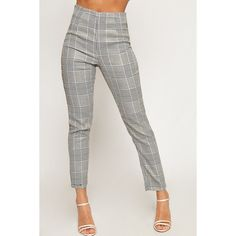 WearAll Check Print Cigarette Trousers ($38) ❤ liked on Polyvore featuring pants, black, tartan pants, plaid trousers, zip pants, checked trousers and checkered pants