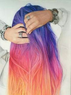 Sunset type of ombre hair colour, very pretty