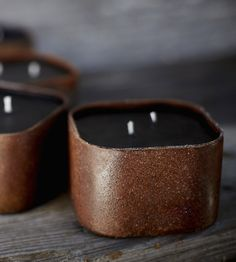 Cowboy Breakfast Scented Beeswax Candle by Wild Well Supply --- Reminiscent of a breakfast cooked over a campfire, this handsome black beeswax candle smells just like coffee, bacon and, of course, maple syrup.  ??