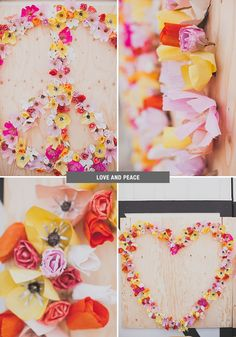 love and peace paper flowers