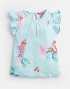 Another great find on Aqua Floral Kaela Flutter-Sleeve Tee - Toddler & Girls Joules Girls, Joules Uk, Rain Collection, Cute Outfits For Kids, Flutter Sleeve, Outfit Sets, Cotton Tee, Tees, Shirts