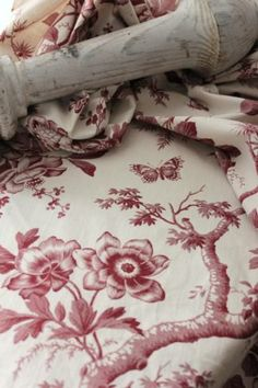 Antique fabric French toile insect + floral c1850 timeworn cotton printed old www.textiletrunk.com