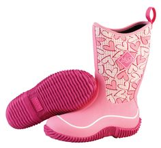 Muck Hale Print Kids Girls Pink Hearts Foam Outdoor Boots Waterproof