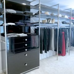 These custom support fins can be made to hold hanging rails, shelving units and in this image they frame a drawer unit. Visit our website for more ideas.