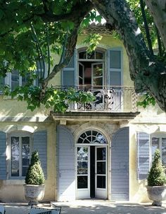~♕ French beauty - Looks like Provence with the pale stone and blue shutters.
