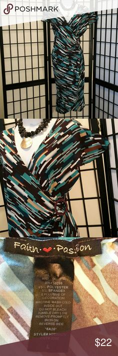 Faith Passion Green Brown Wrap Dress Excellent  Condition, Stretch, Cap Sleevee, Deep V-neck, Cool Print, Accessories not included,  Thanks for sharing my closet, I will show Posh love by doing the same. Faith Passion Dresses