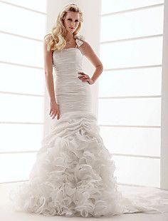 Trumpet/Mermaid One Shoulder Court Train Taffeta Wedding Dre... – USD $ 176.99