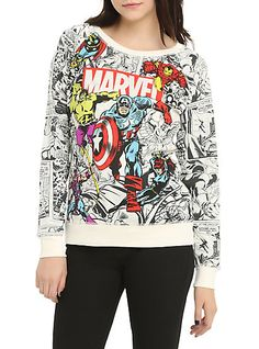 Ivory pullover top from Marvel with the Avengers in color on a black comic background. It gets better. This top is reversible! The other side has a Marvel logo and comics print. dry lowImportedListed in junior sizes Tokyo Street Fashion, Fashion 90s, Marvel Fashion, Nerd Fashion, Fandom Fashion, Look Fashion, Lolita Fashion, Fashion Boots, Fashion Dresses
