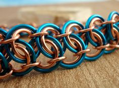Chainmaille Bracelet - Batterburg Lace - Peacock Blue and Copper or YOU Pick Colors