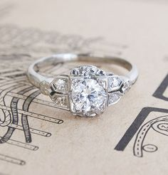 Art Deco Engagement Ring with Orange Blossom Accents