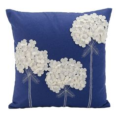 Mina Victory Felt Three White Flowers Navy Throw Pillow - Nourison Colorful, hand cut wool felt pillows are skillfully crafted and sewn to create a joyful collection to mix and match with all other Mina Victory pieces. Features: Fabric: Dimensions: x x Sewing Pillows, Diy Pillows, Cushions, Throw Pillows, Accent Pillows, Blue Pillows, Handmade Pillows, Decorative Pillows, Sewing Crafts
