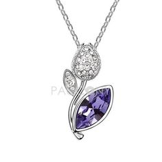 Roses Agreement - Austrian Crystal Necklace (Tanzanite)