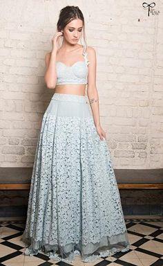 Les Parisiennes Blue Bralette & Skirt - waliajoness - 1