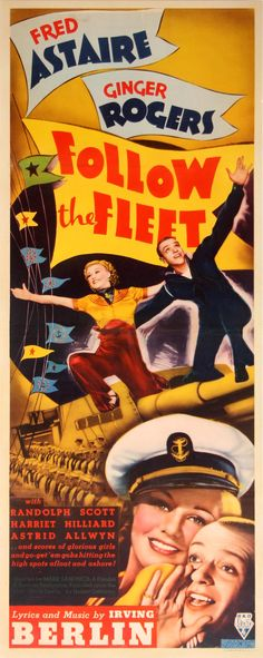 FOLLOW THE FLEET (1936) - Fred Astaire - Ginger Rogers - Randolph Scott - Harriet Hilliard - RKO-Radio Pictures - Insert Movie Poster.