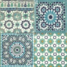 Marokkaanse tegels blauw turquoise behang BA2503, Botanical van Dutch Wallcoverings