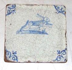 Delft tile with cobalt decoration- Dutch, 17th century?