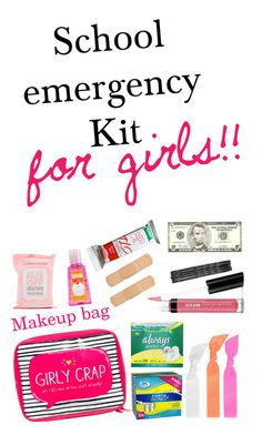 """School emergency kit for girls! To keep in your backpack or locker!"" by mariaegraham ❤ liked on Polyvore"