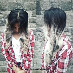 Ash Blonde and Silver Ombre Hairstyle #DIY Ombre for Asian Hair using olaplex & dove grey blonde dye #going of asian colored black hair #by_annahairstyle 2016♡