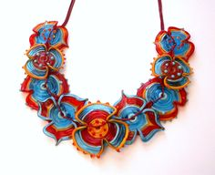 Latino queen Nine flowers necklace Lampwork glass bead hand made by YasminSivan. $115.00, via Etsy.