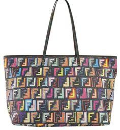 e3b149e02d41 Fendi Multicolor Zucca Black Tote Bag | Totes on Sale Fendi Tote, Black Tote  Bag