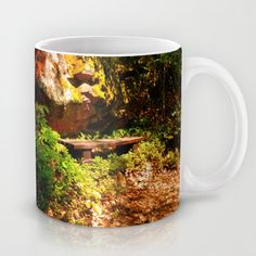 A rock, a bench and some forest Coffee Mug by patrickjobst Ceramic Mugs, Coffee Mugs, Custom Design, Bench, Ceramics, Rock, Tableware, Ceramica, Pottery Mugs