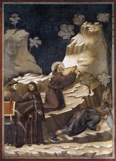 GIOTTO di Bondone Legend of St Francis: 14. Miracle of the Spring 1297-1300 Fresco, 270 x 200 cm Upper Church, San Francesco, Assisi