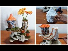 How to make a fairy house on a stone with a vase - YouTube