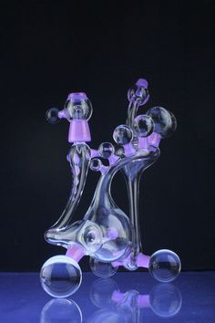 Check out this Clayball Glass  Heady Recycler Inline Perc with Opals and Light Purple Accents