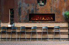 Amantii Electric Fireplace, Built-in with log and glass - Electric Fireplaces Electric Fireplace Reviews, Built In Electric Fireplace, Electric Fireplaces, Indoor Fireplaces, Custom Fireplace, Fireplace Wall, Contemporary Electric Fireplace, Outdoor Dining, Outdoor Patios
