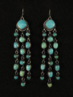 Navajo Silver & Turquoise Earrings - Hallmarked