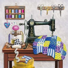 'Antique Sewing Room - Lavender' by Rosiland Solomon
