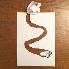 Danish artist, HuskMitNavn, has taken his playful black-and-white drawings of things as simple as opening a can of food, or as frustrating as running out of toilet paper, and brought them to life as incredible pieces of cartoons on one sheet of paper. Funny Drawings, Art Drawings Sketches, Cool Drawings, 3d Paper Art, Paper Crafts, Paper Illustration, Illustrations, 3d Art Drawing, Drawing Ideas