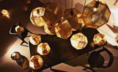 Pure geometry inspired these pendant lights from Tom Dixon. In line with their mathematical origin, the hanging feature has been digitally manufactured to create striking patterns, which are magnified when the pendants cast their intricate shadows. Salone del Mobile 2015