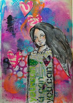 Collaged girl by Dina Wakley