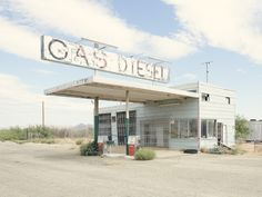 """The recent exhibition """"Twenty Six (Abandoned) Gasoline Stations"""" at the Carolina Rojo gallery in Zaragoza, a part of the substantial 18th """"Photo España"""" programme, presented a photographic and editorial project entitled Twenty Six Gasoline Stations. The work by photographer and architect Iñaki Bergera explicitly references that produced by American conceptual artist Edward Ruscha in 1963."""