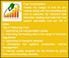 Fuel Consumption - Fleetah helps you track fuel usage and total fuel cost per Km or mile