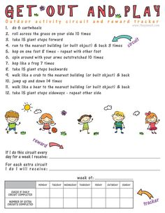 Get Out and Play Activity Circuit and Reward Tracker - encourage your kids to spend more time outside with this fun circuit. You can establish rewards and track their activity too! A great way to motivate kids to get some exercise and fresh air and earn t Physical Activities For Kids, Pe Activities, Exercise Activities, Physical Education Games, Fitness Activities, Exercise For Kids, Play Activity, Health Education, Dementia Activities