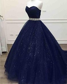 long prom dresses - Long Navy Blue Sparkle Sweetheart Tulle Prom Dress with Beading Belt