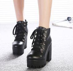 Para Mujer gótico Romano Alto Taco Grueso Plataforma lazada Punk Botines Zapatos in Ropa, calzado y accesorios, Calzado de mujer, Botas | eBay