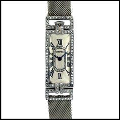 Wrist Wednesday- Art Deco Watches | Julers Row: CARTIER Lady's Platinum Diamond Art Deco Wristwatch circa 1930s