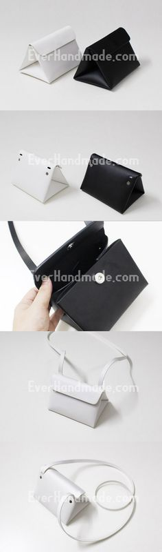 Leather Clutch bag shoulder bag triangle black white for women leather