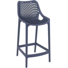"25.6"" Air Resin UV-Resistant Stackable and Polypropylene Outdoor Bar Chairs with Gas Injection Molded Legs - Set of 2"