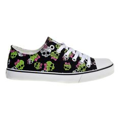 Bleeding Heart Skull & Bow Canvas Shoes (Black)
