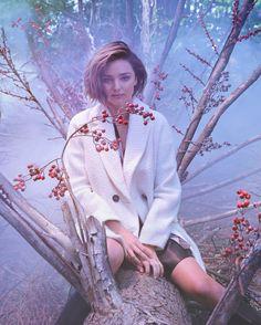 Posing outdoors, Miranda Kerr models Marella Alpaca coat for fall-winter 2016 campaign