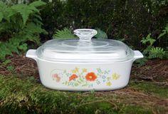 Corning Ware ~ Wildflower ~ 2 Qt. ~ Covered Casserole ~ A-2-B ~ Sauce Pan ~ Baking Dish ~ 1977-85 ~ Pyroceram by JingleBeanFarm on Etsy