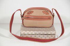 6b75b4c839b1 GUCCI Italian VINTAGE Tan Canvas golf shoulder bag Purse w  golden tees Rare
